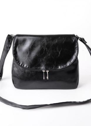 Молодежная сумка через плечо черная вместительная с клапаном кроссбоди