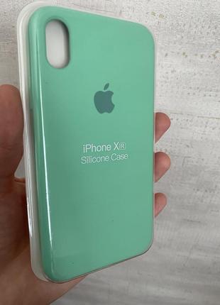 Яркий чехол iphone xr  silicone original case мята лайм супер качество