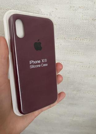 Чехол супер качество низ закрытый бордо iphone xs x original silicone case