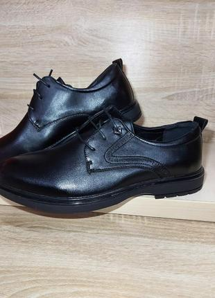 Мужские туфли классика черные полуботинки чоловічі туфлі деми демисезон