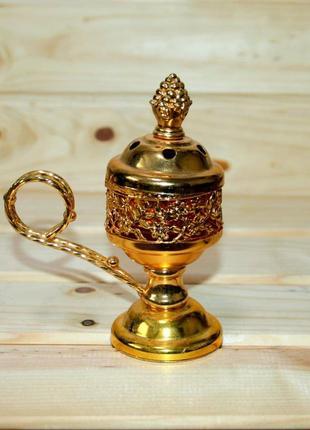 Металлическая бахурница в золоте с ручкой