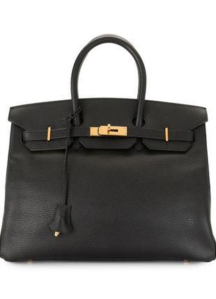 Большая кожаная сумка тоут саквояж, натуральная кожа сафьяно, hermès birkin