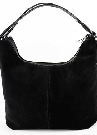Черная замшевая женская сумка шоппер на плечо