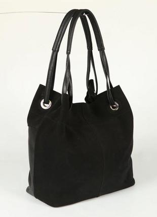 Замшевая сумка шоппер на плечо черная мягкая деловая