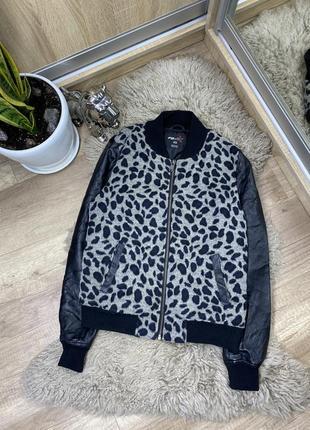 Бомбер женский леопардовый zara с кожаными рукавами