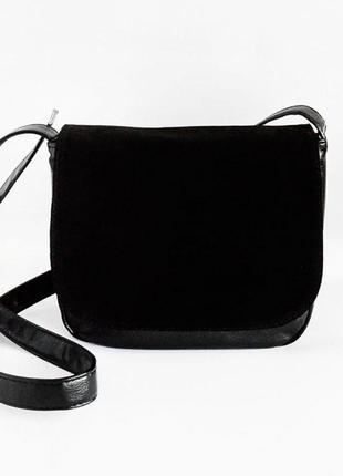 Молодежная женская сумочка на плечо замшевая планшетная