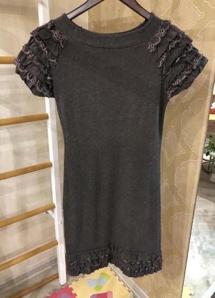 Платье трикотажное с украшением на рукавах и по низу