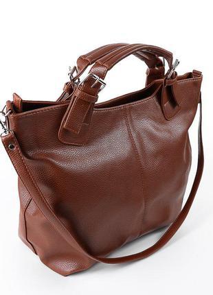 Рыжая сумка шоппер женская мягкая объемная с ремешком на плечо