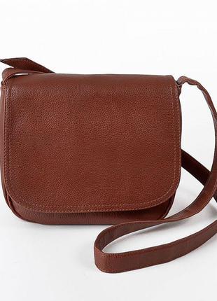 Коричневая небольшая сумочка через плечо кросс боди рыжая