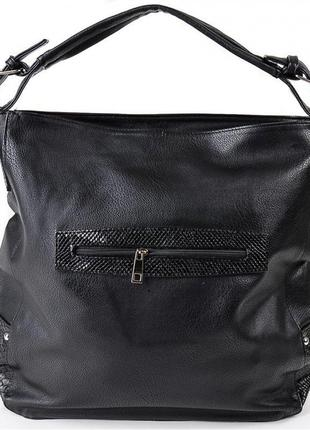 Сумка шоппер черная мягкая с одной ручкой через плечо