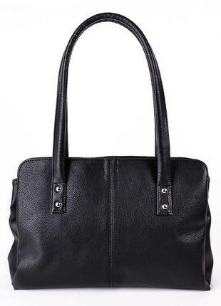 Черная дамская сумка с длинными ручками с тремя отделениями