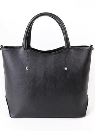 Черная деловая модельная сумка в качественном кожзаменителе