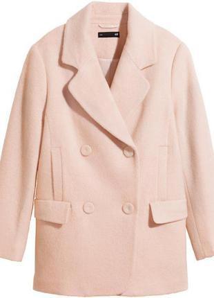 Пальто бойфренд пудрового цвета h&m