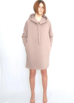 Платье утепленное на флисе с боковыми карманами