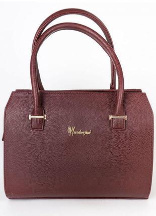 Деловая бордовая сумка саквояж матовая классическая в каркасе