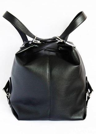 Сумка рюкзак женская трансформер черная на плечо
