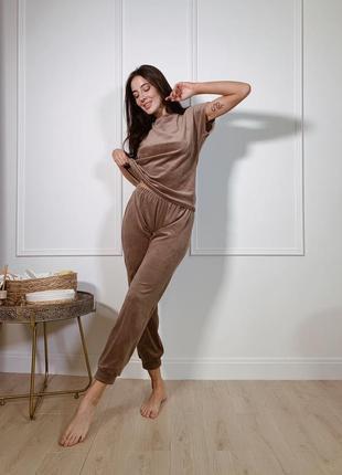 Велюрова піжама, домашній костюм тройка мокко, плюшевая пижама футболка шорты штаны