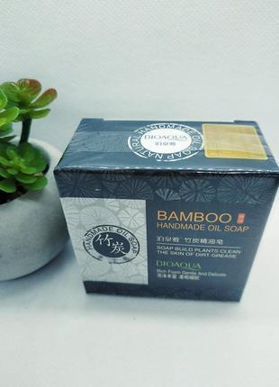 Мыло ручной работы bioaqua bamboo handmade oil soap с бамбуковым углём 100 г