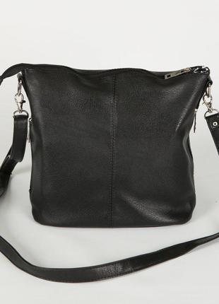 Черная молодежная сумочка через плечо матовая на молнии6