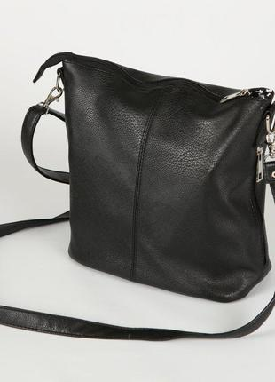Черная молодежная сумочка через плечо матовая на молнии7