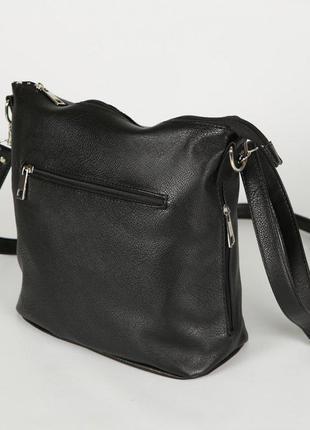 Черная молодежная сумочка через плечо матовая на молнии9