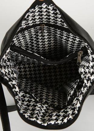 Черная молодежная сумочка через плечо матовая на молнии8