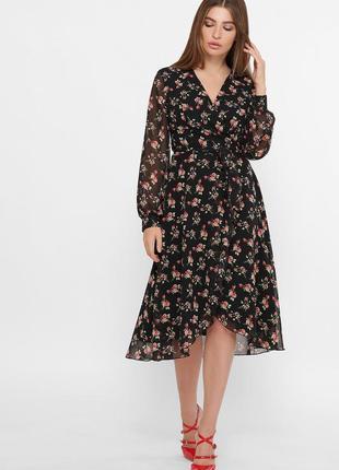 Шифоновое платье в черном и лиловом цвете