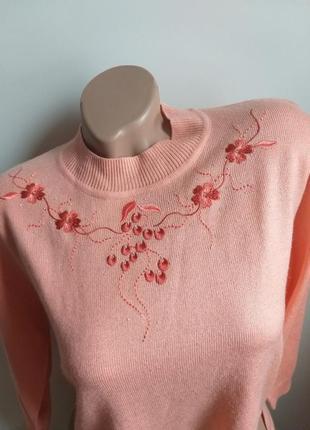 Коралловый свитер с вышивкой. пуловер. туника. лонгслив. шерсть.