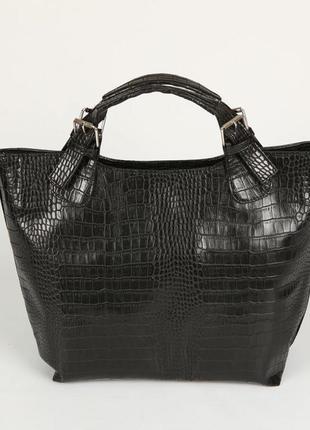 Сумка шоппер женская черная крокодиловая