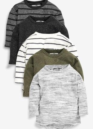 Набор из 5 футболок лонгсливов с длинными рукавами next(3 мес.-7 лет)