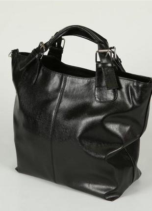 Черная сумка шоппер женская деловая глянцевая на плечо