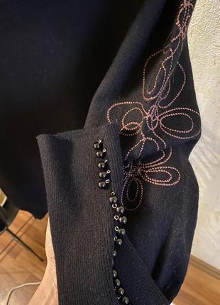 Кашемировый голь свитер с горловиной хомутом базовый чёрный2 фото