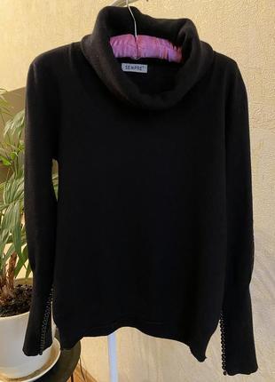 Кашемировый голь свитер с горловиной хомутом базовый чёрный1 фото