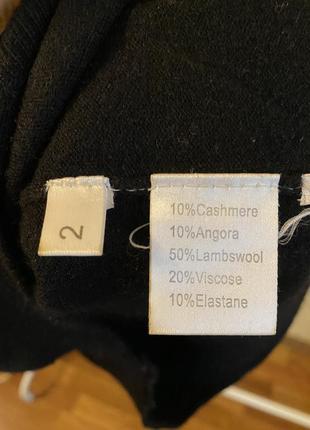 Кашемировый голь свитер с горловиной хомутом базовый чёрный3 фото