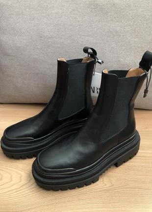 Кожаные ботинки ботильоны zara1 фото