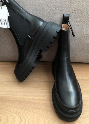 Кожаные ботинки ботильоны zara6 фото