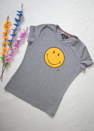 Стрейчевая футболка серый меланж принт смайлик tommy hilfiger