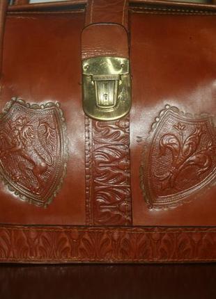 Винтажная сумка-портель кожа италия сер.20века