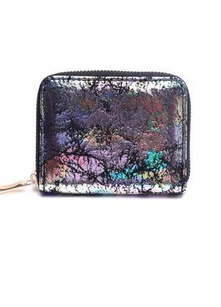 Новый лаковый блестящий короткий мини кошелек на молнии с цветным напылением