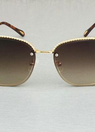 Chloe стильные женские солнцезащитные очки коричневые в золоте с градиентом