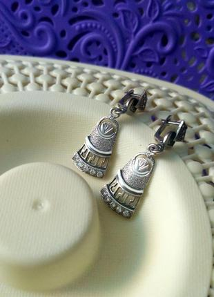 Винтажные серебряные серьги в египетском стиле с фианитами