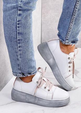 Шикарные женские кожаные белве кеды криперы кроссовки