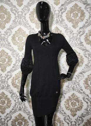 Платье трикотаж кружево черное