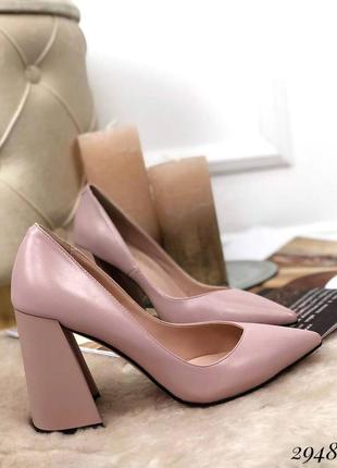 Туфли лодочки на устойчивом широком каблуке эко кожа