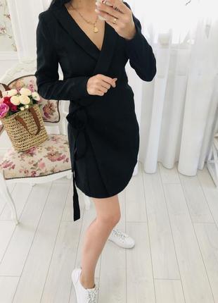 Базовое черное платье пиджак на запах длинный пиджак платье club l