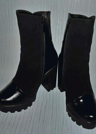 Кожаные зимние ботинки italy design