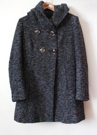 Серое приталенное пальто с капюшоном krisp (полушерстяное)