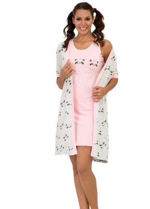 Комплект халат,ночная рубашка панда lush турция s,m,xl,хлопок