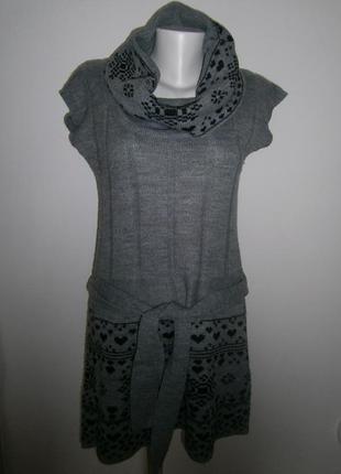 Тепле плаття-туніка з хомутом та пояском