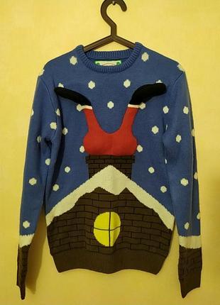 Шикарный натуральный новогодний свитер свитерок санта клаус